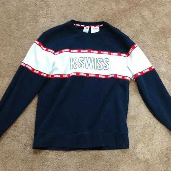 Vintage 90s K Swiss Sweatshirt Crewneck K Swiss Athletic Sweater K Swiss Sportswear Jumper K Swiss Embroidery Logo Black Size Large